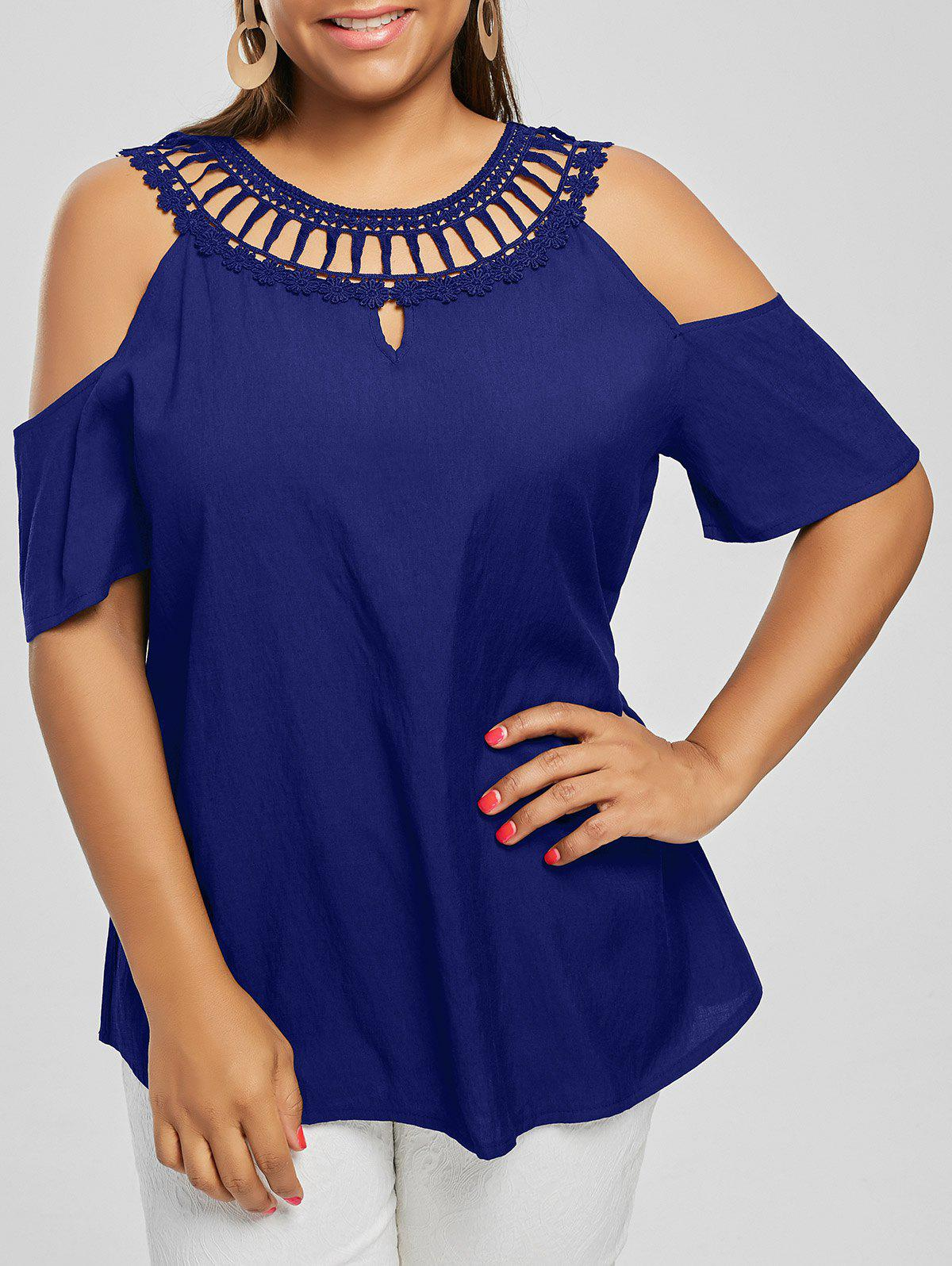 Cold Shoulder Plus Size Lace Panel BlouseWOMEN<br><br>Size: 5XL; Color: BLUE; Material: Polyester; Shirt Length: Regular; Sleeve Length: Short; Collar: Round Neck; Style: Fashion; Season: Summer; Pattern Type: Solid; Weight: 0.2000kg; Package Contents: 1 x Blouse;