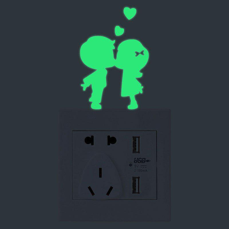 Couples Shape Switch Luminous Wall StickersHOME<br><br>Color: GREEN; Wall Sticker Type: Plane Wall Stickers; Functions: Light Switch Stickers; Theme: People; Material: PVC; Feature: Removable; Weight: 0.0200kg; Package Contents: 1 x Wall Sticker;