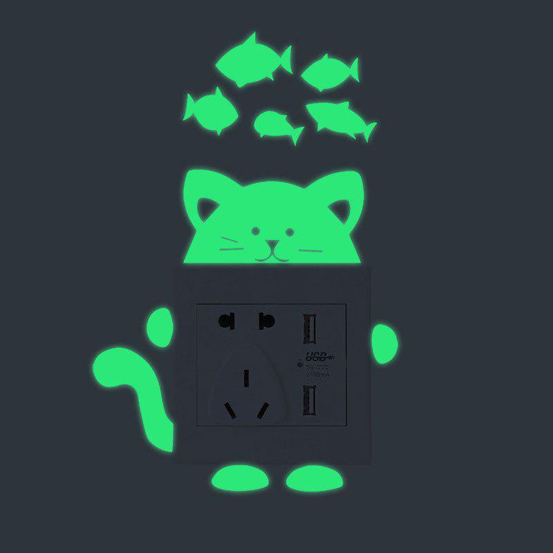 Cartoon Cat Shape DIY Fluorescent Switch Wall StickersHOME<br><br>Color: GREEN; Wall Sticker Type: Plane Wall Stickers; Functions: Light Switch Stickers; Theme: Animals; Material: PVC; Feature: Removable; Weight: 0.0200kg; Package Contents: 1 x Wall Stickers (Set);