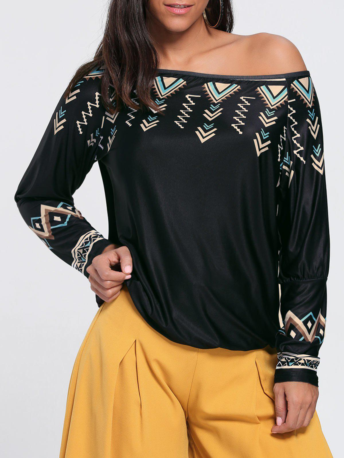 Trendy Skew Neck Drop Sleeve Printed T-shirt