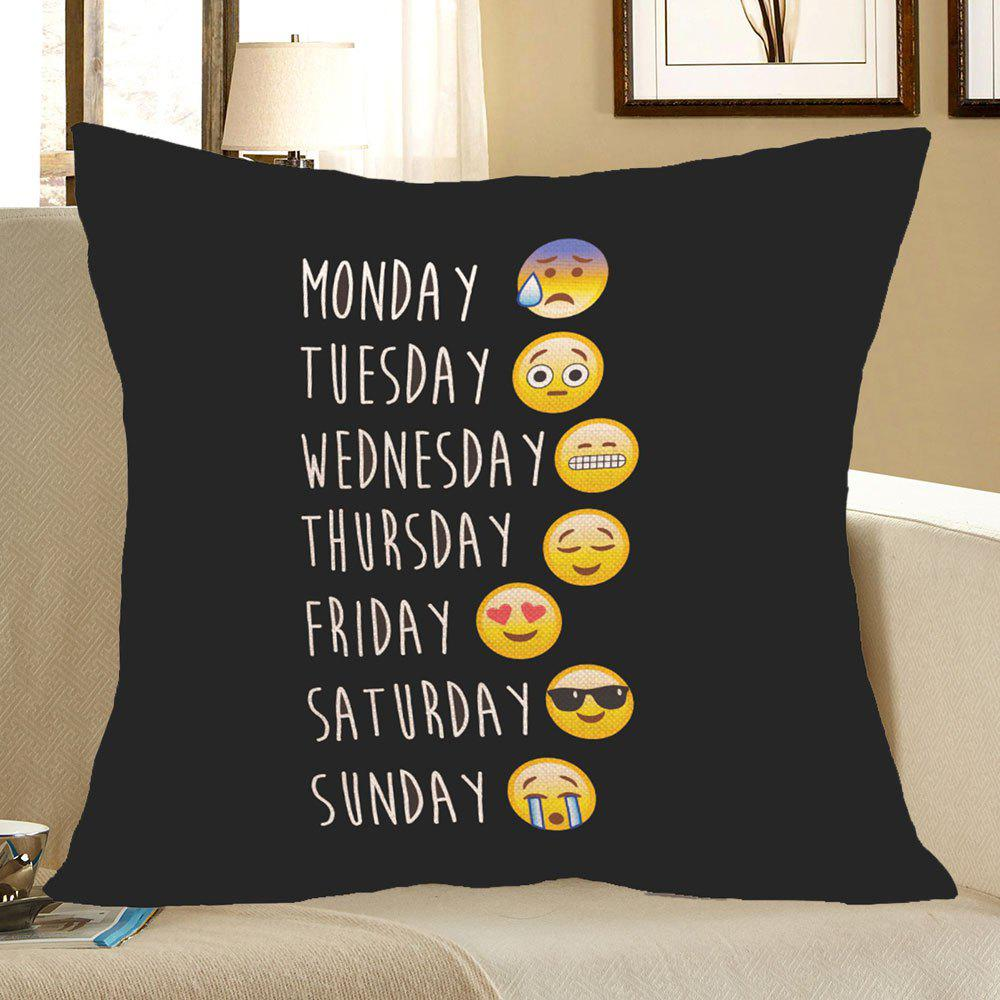 Emoji Pattern Square Pillow CaseHOME<br><br>Size: W18 INCH * L18 INCH; Color: BLACK; Material: Linen; Pattern: Letter; Style: Casual; Weight: 0.0800kg; Package Contents: 1 x Pillow Case;