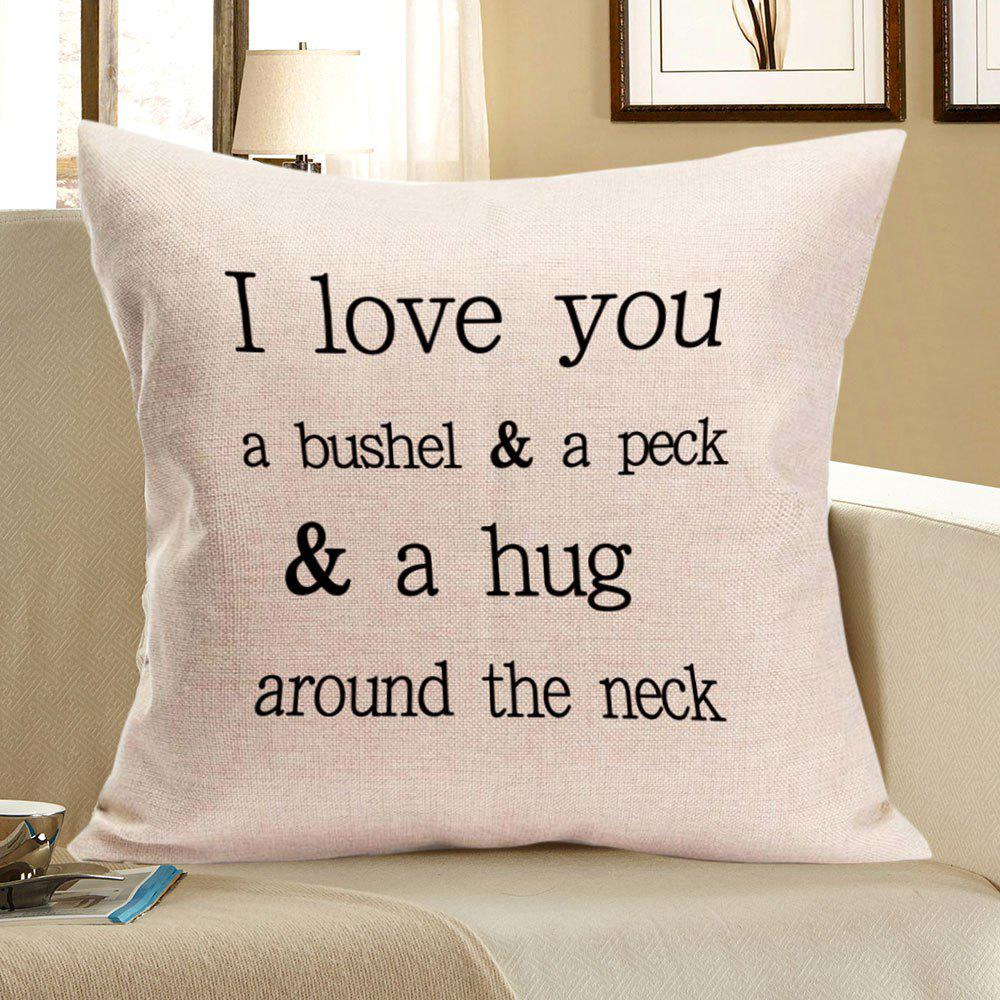 Letters Graphic Pattern Square Pillow CaseHOME<br><br>Size: W18 INCH * L18 INCH; Color: OFF-WHITE; Material: Linen; Pattern: Letter; Style: Casual; Weight: 0.0800kg; Package Contents: 1 x Pillow Case;