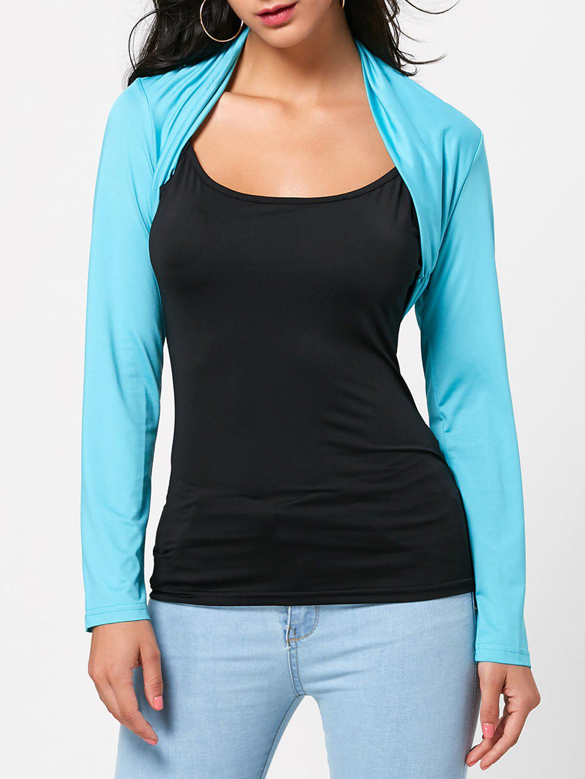 Light blue m open front long sleeve crop tee and cami top for Long sleeve open shirt