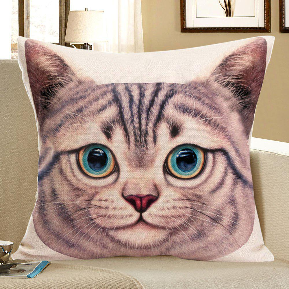 Cat Head Printed Square Decorative Pillow CaseHOME<br><br>Size: W18 INCH * L18 INCH; Color: SANDY BEIGE; Material: Linen; Pattern: Animal; Style: Cute; Shape: Square; Weight: 0.0800kg; Package Contents: 1 x Pillow Case;