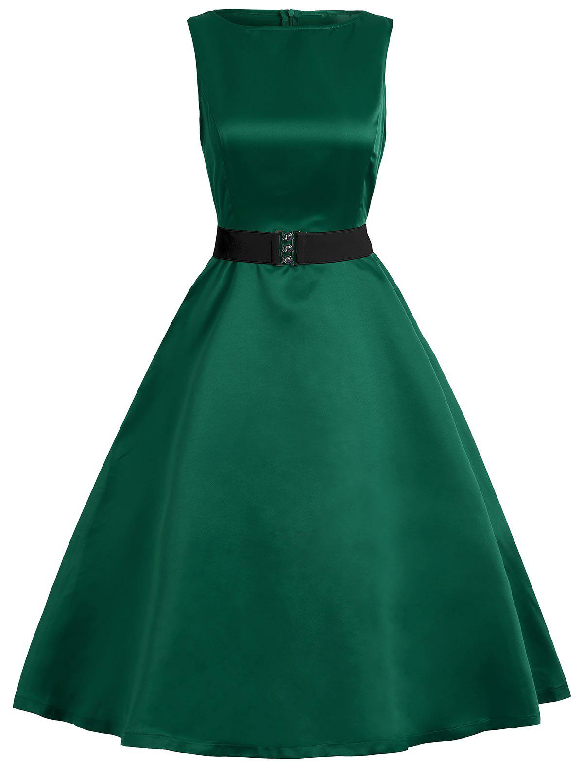 Vintage Belted Sleeveless High Waist DressWOMEN<br><br>Size: 2XL; Color: GREEN; Style: Vintage; Material: Cotton,Polyester; Silhouette: A-Line; Dresses Length: Knee-Length; Neckline: Boat Neck; Sleeve Length: Sleeveless; Pattern Type: Solid; With Belt: Yes; Season: Fall,Summer; Weight: 0.3000kg; Package Contents: 1 x Dress  1 x Belt;
