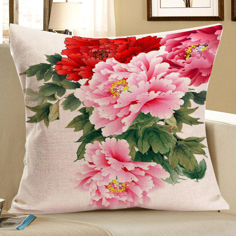 Fancy Colorful Peony Pattern Linen Decorative Pillow Case