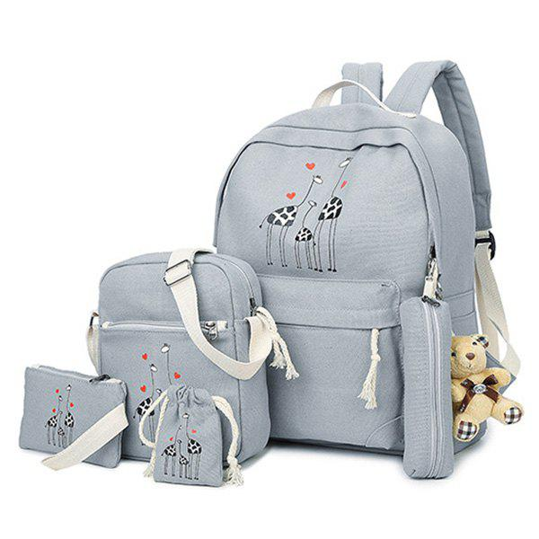 Shop Animal Printed 5 Pieces Canvas Backpack Set