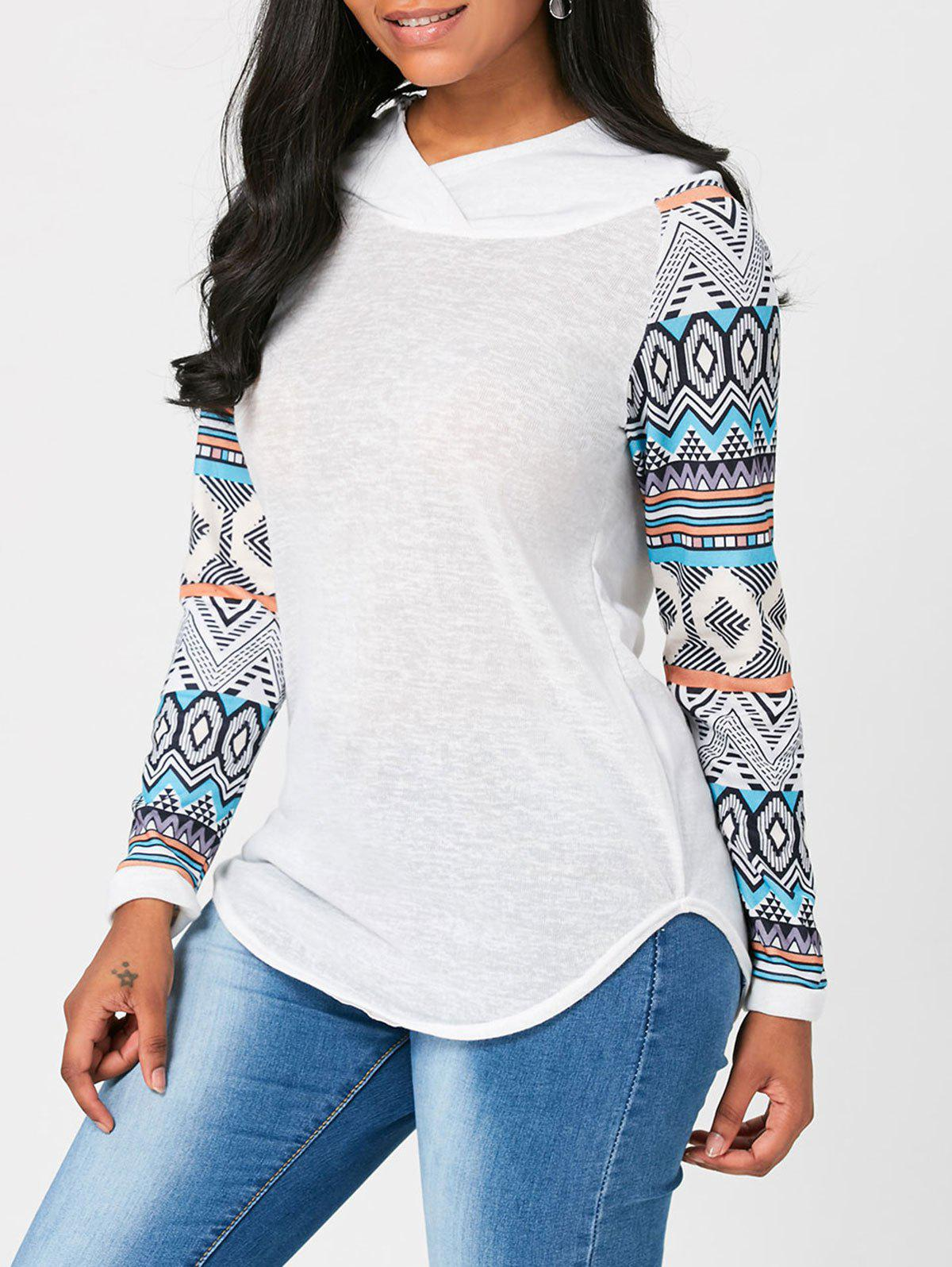 Long Raglan Sleeve Geometric Print Hooded T-shirtWOMEN<br><br>Size: XL; Color: WHITE; Material: Polyester; Shirt Length: Regular; Sleeve Length: Full; Collar: Hooded; Style: Casual; Sleeve Type: Raglan Sleeve; Pattern Type: Geometric,Print; Season: Fall,Spring; Elasticity: Micro-elastic; Weight: 0.3500kg; Package Contents: 1 x T-shirt;
