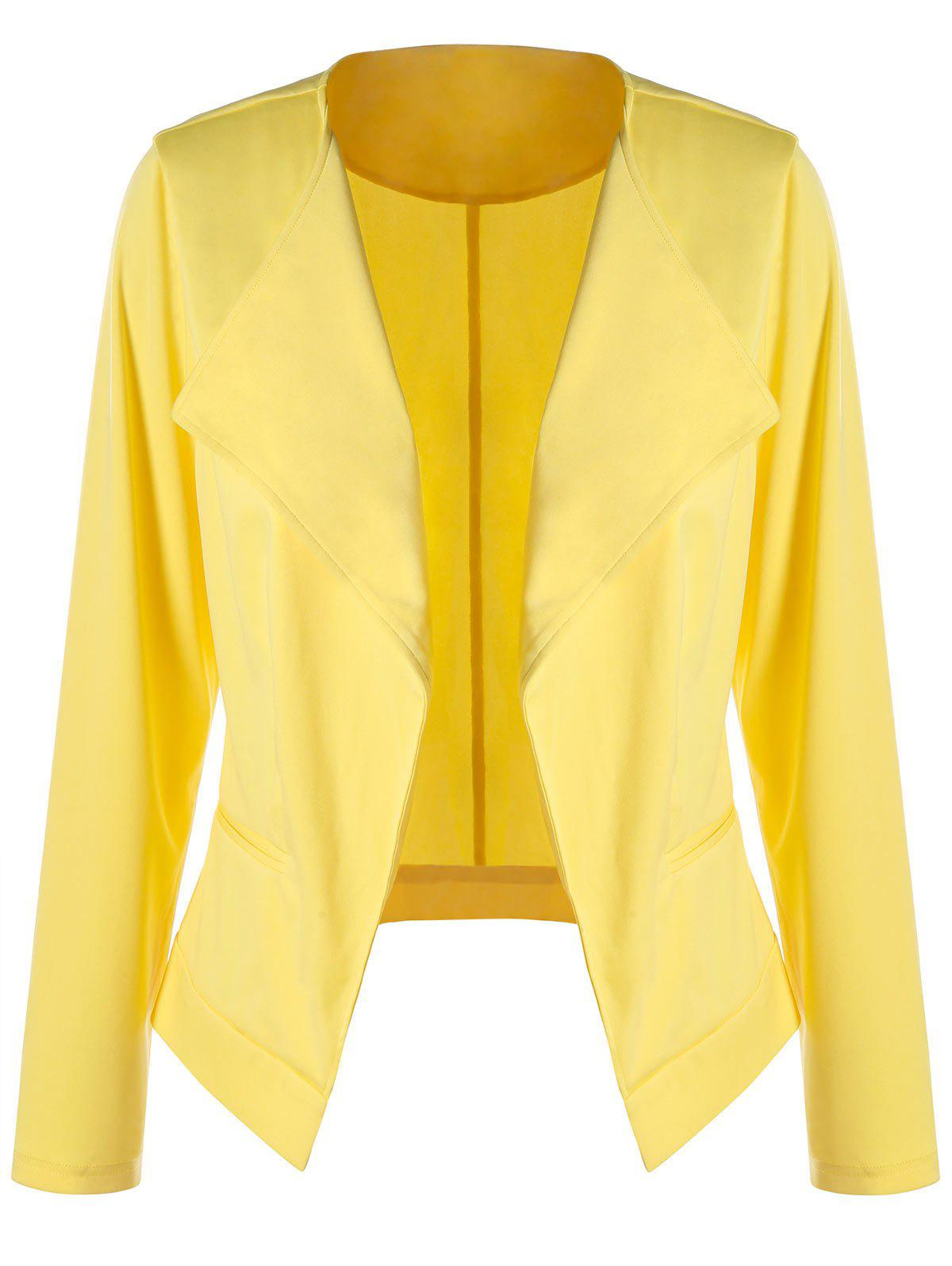 Plus Size Waterfall BlazerWOMEN<br><br>Size: 4XL; Color: YELLOW; Clothes Type: Jackets; Material: Polyester,Spandex; Type: Slim; Shirt Length: Regular; Sleeve Length: Full; Collar: Collarless; Pattern Type: Solid; Style: Fashion; Season: Fall,Spring,Summer; Weight: 0.3200kg; Package Contents: 1 x Blazer;
