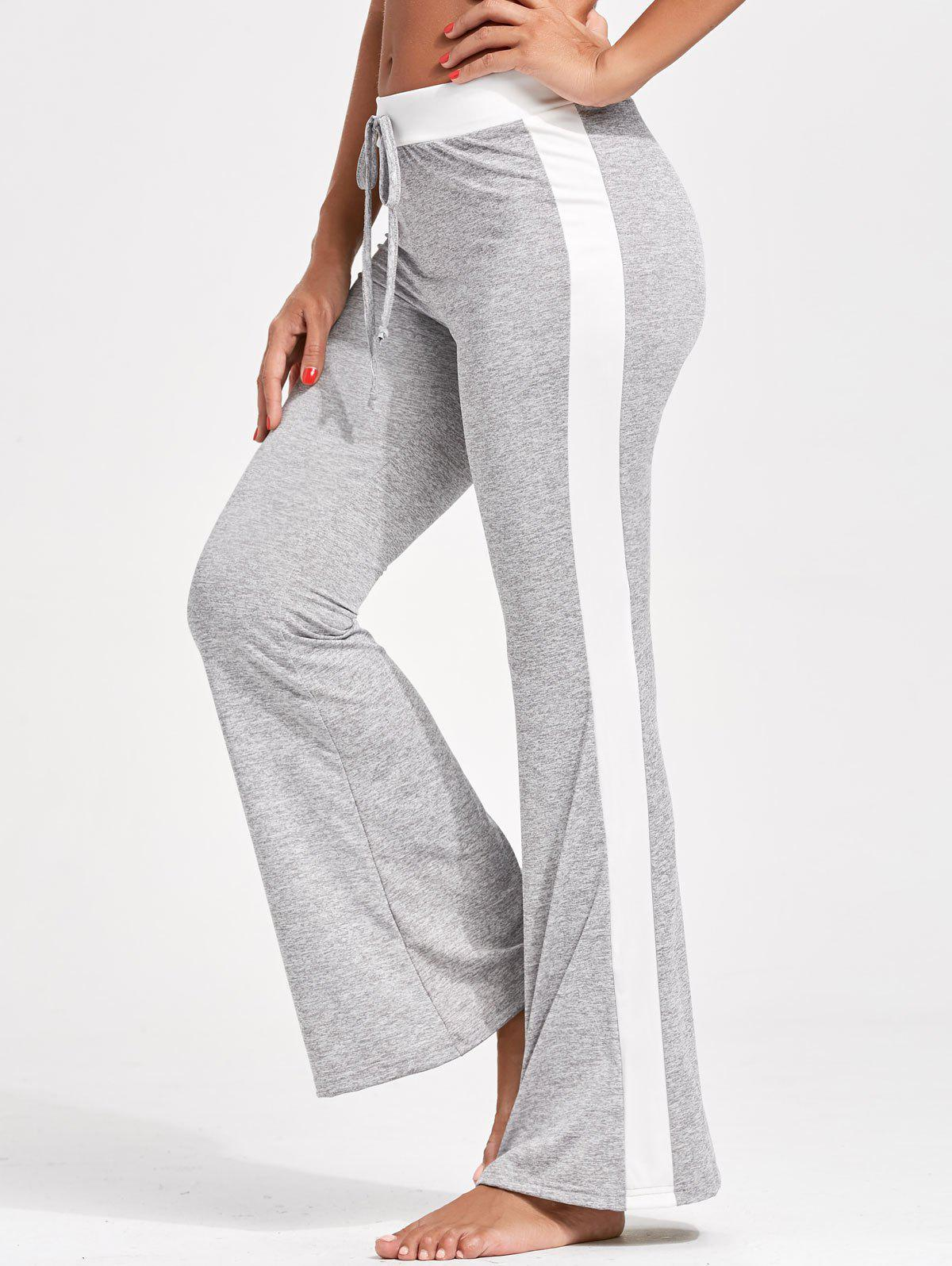 Drawstring Single Stripe Flare PantsWOMEN<br><br>Size: XL; Color: GRAY; Style: Casual; Length: Normal; Material: Polyester; Fit Type: Regular; Waist Type: Mid; Closure Type: Drawstring; Pattern Type: Others; Pant Style: Flare Pants; Weight: 0.2700kg; Package Contents: 1 x Pants;