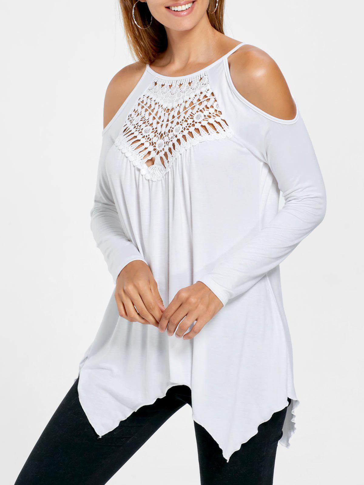 Open Shoulder Handkerchief TopWOMEN<br><br>Size: L; Color: WHITE; Material: Rayon,Spandex; Shirt Length: Regular; Sleeve Length: Full; Collar: Round Neck; Style: Casual; Pattern Type: Solid Color; Season: Fall,Spring,Summer; Weight: 0.2700kg; Package Contents: 1 x Top;