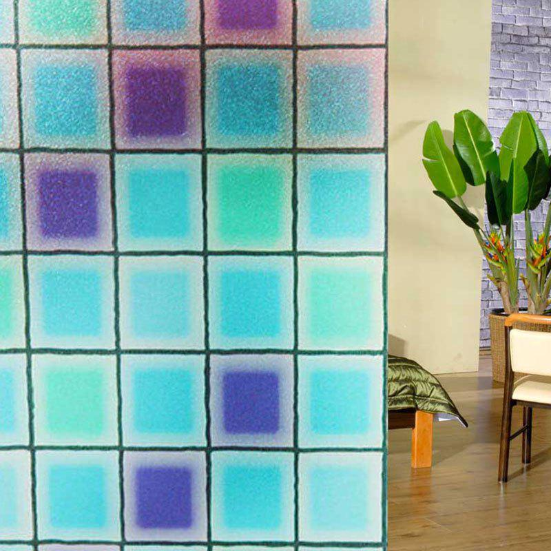 Modern PVC Electrostatic Grid Glass Wall StickerHOME<br><br>Color: BLUE; Wall Sticker Type: Plane Wall Stickers; Functions: Decorative Wall Stickers; Theme: Shapes; Material: PVC; Feature: Removable; Size(L*W)(CM): 100*45; Weight: 0.1500kg; Package Contents: 1 x Wall Sticker;