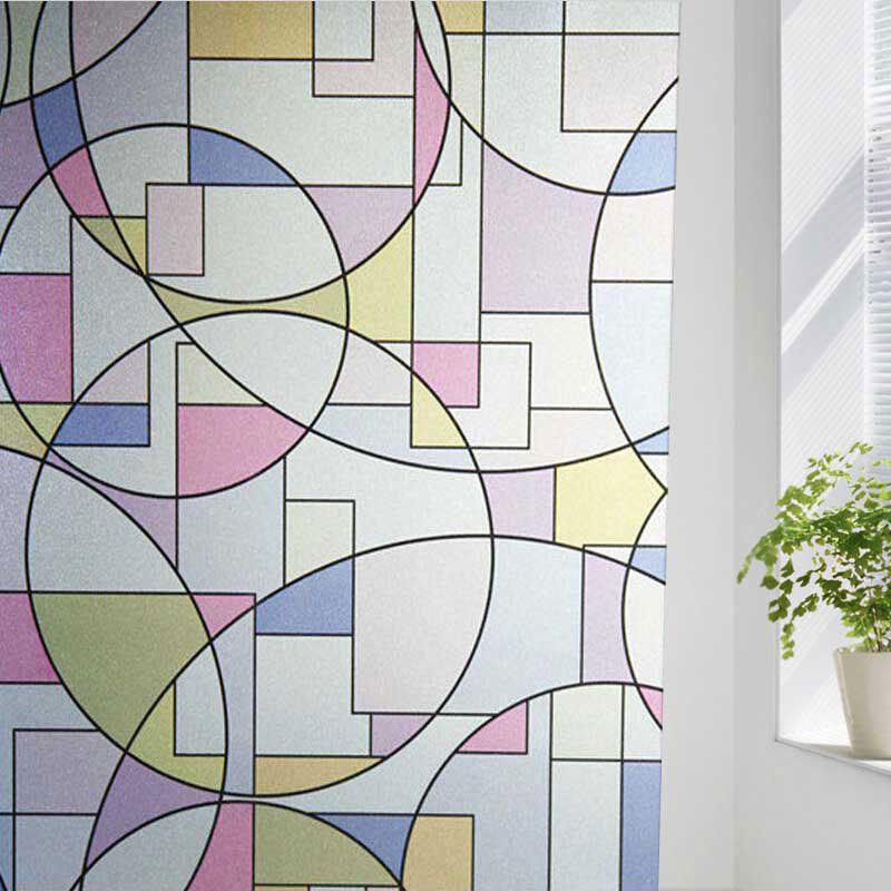 PVC Electrostatic Geometric Glass Wall DecalHOME<br><br>Color: COLORFUL GEOMETRIC; Wall Sticker Type: Plane Wall Stickers; Functions: Decorative Wall Stickers; Theme: Shapes; Material: PVC; Feature: Removable; Size(L*W)(CM): 100*45; Weight: 0.1500kg; Package Contents: 1 x Wall Sticker;