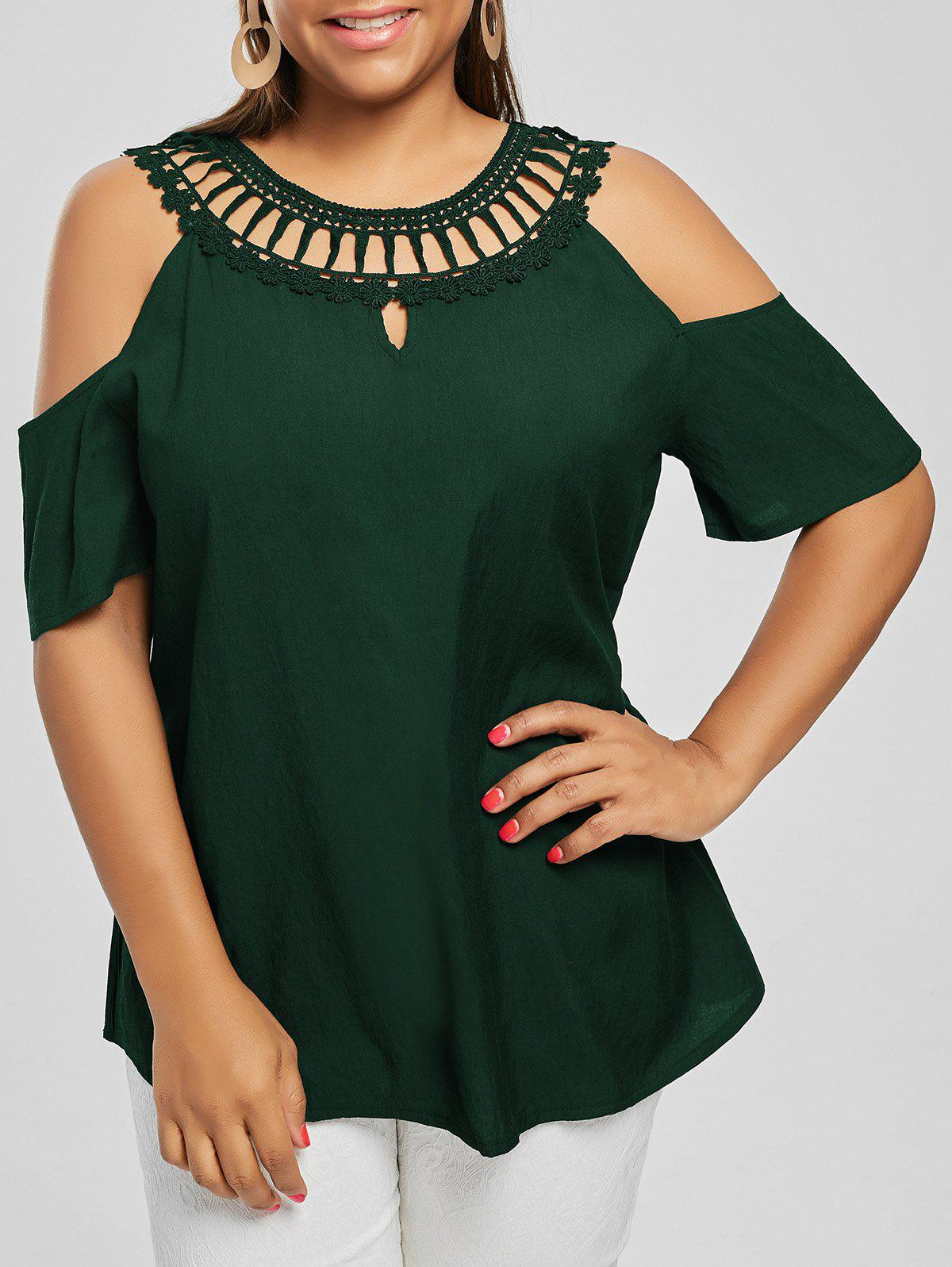 Cold Shoulder Plus Size Lace Panel BlouseWOMEN<br><br>Size: 2XL; Color: BLACKISH GREEN; Material: Polyester; Shirt Length: Regular; Sleeve Length: Short; Collar: Round Neck; Style: Fashion; Season: Summer; Pattern Type: Solid; Weight: 0.2000kg; Package Contents: 1 x Blouse;