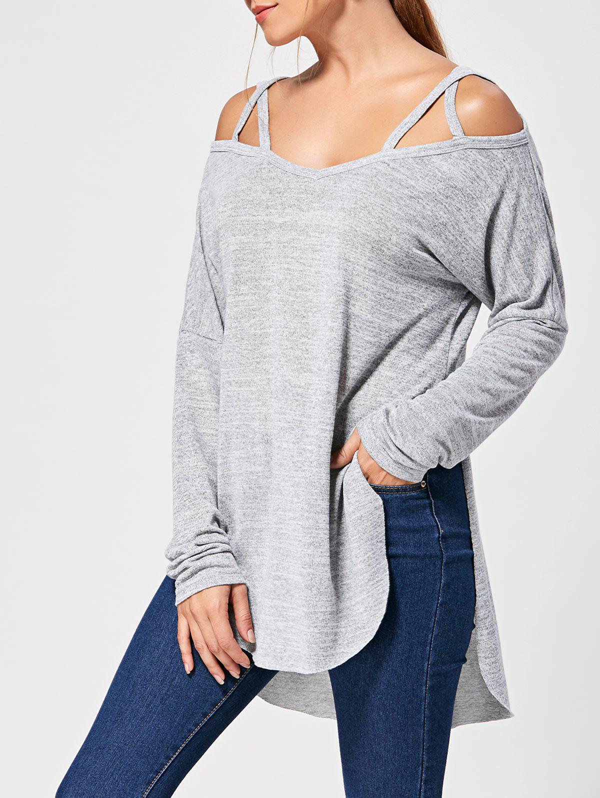 Lattice Long Sleeve High Low TopWOMEN<br><br>Size: XL; Color: GRAY; Material: Polyester,Spandex; Shirt Length: Long; Sleeve Length: Full; Collar: Sweetheart Neck; Style: Fashion; Pattern Type: Solid; Season: Fall,Spring; Weight: 0.3200kg; Package Contents: 1 x T-shirt;