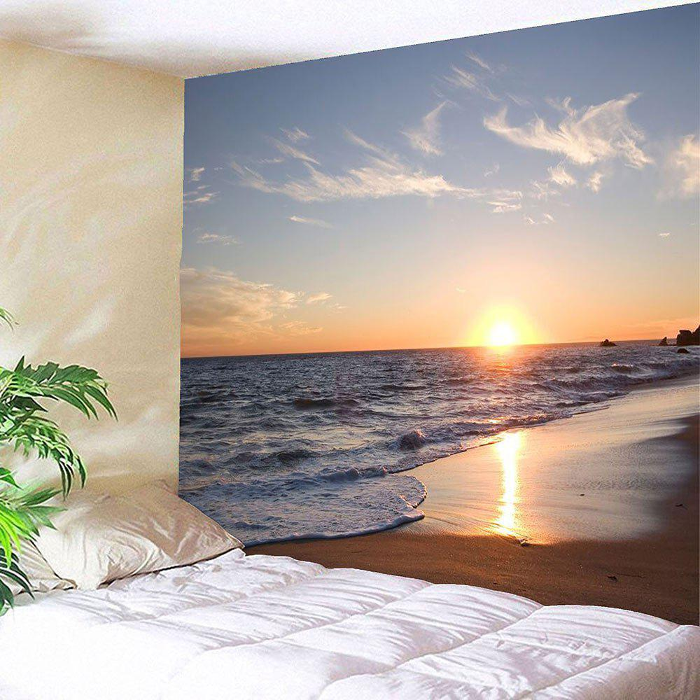 Waterproof Seaside Sunset Wall TapestryHOME<br><br>Size: W79 INCH * L79 INCH; Color: YELLOW; Style: Natural; Theme: Landscape; Material: Polyester; Feature: Removable; Shape/Pattern: Print; Weight: 0.4100kg; Package Contents: 1 x Tapestry;