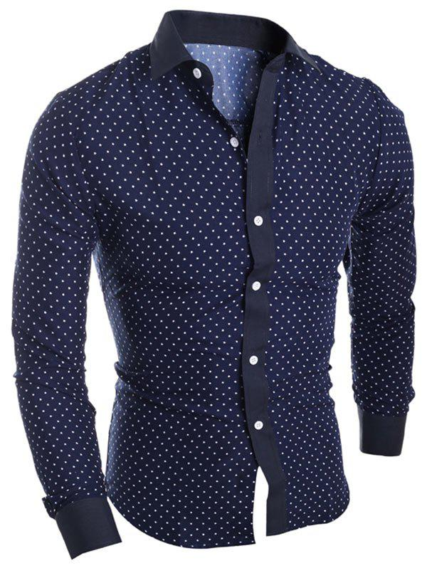 Long Sleeve Star Printed ShirtMEN<br><br>Size: L; Color: PURPLISH BLUE; Shirts Type: Casual Shirts; Material: Cotton,Polyester; Sleeve Length: Full; Collar: Turndown Collar; Pattern Type: Star; Weight: 0.2900kg; Package Contents: 1 x Shirt;
