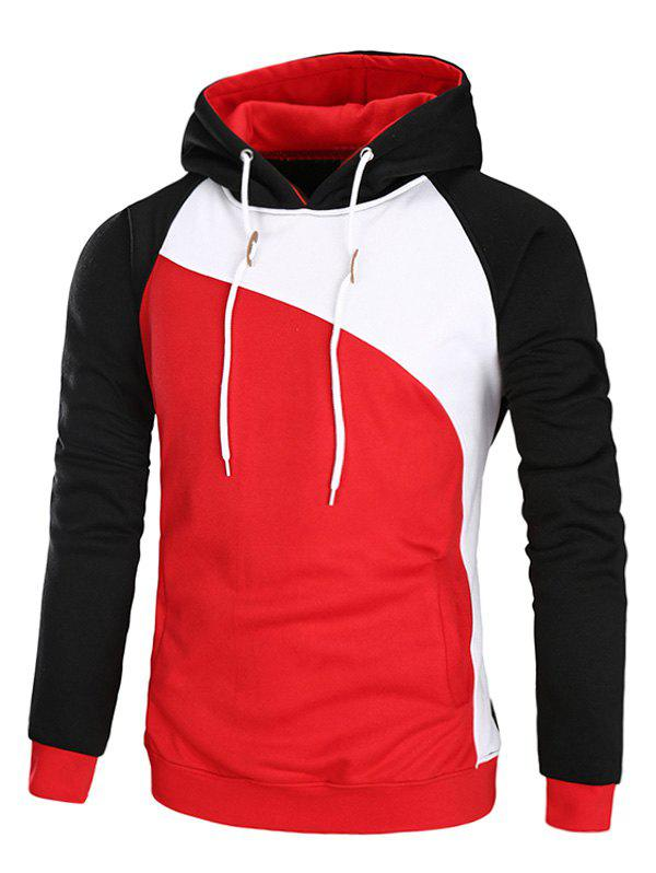 Raglan Sleeve Color Block Fleece HoodieMEN<br><br>Size: L; Color: RED; Material: Cotton,Polyester; Shirt Length: Regular; Sleeve Length: Full; Style: Fashion; Weight: 0.4700kg; Package Contents: 1 x Hoodie;