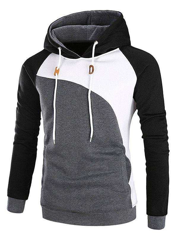 Raglan Sleeve Color Block Fleece HoodieMEN<br><br>Size: L; Color: BLACK; Material: Cotton,Polyester; Shirt Length: Regular; Sleeve Length: Full; Style: Fashion; Weight: 0.4700kg; Package Contents: 1 x Hoodie;