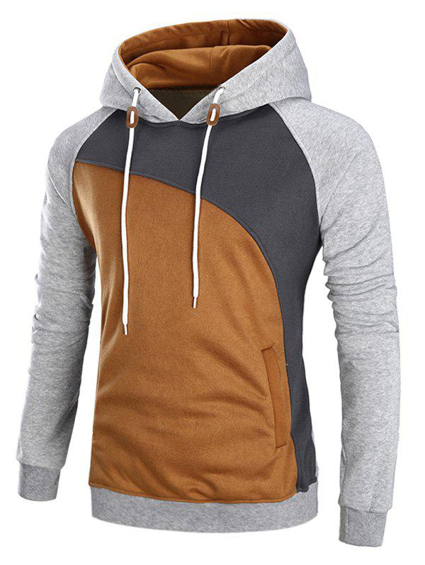 Raglan Sleeve Color Block Fleece HoodieMEN<br><br>Size: M; Color: GRAY; Material: Cotton,Polyester; Shirt Length: Regular; Sleeve Length: Full; Style: Fashion; Weight: 0.4700kg; Package Contents: 1 x Hoodie;