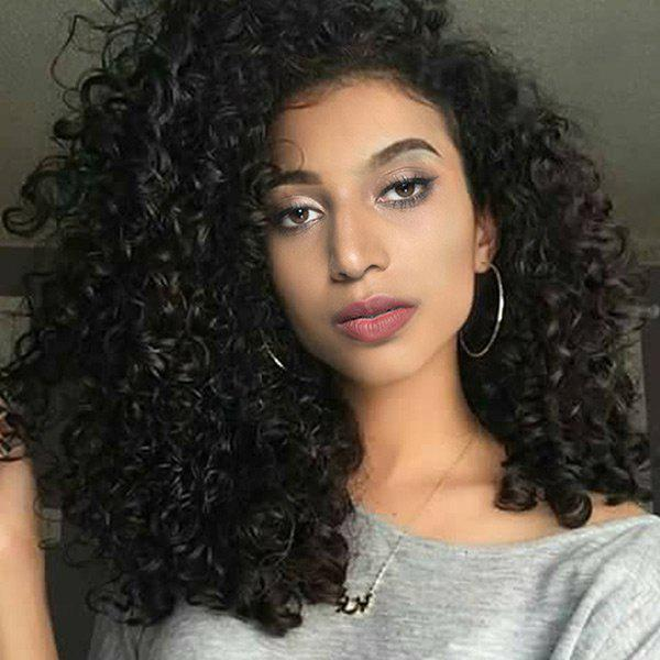 Long Deep Side Bang Fluffy Curly Synthetic WigHAIR<br><br>Color: BLACK; Type: Full Wigs; Cap Construction: Capless; Style: Curly; Material: Synthetic Hair; Bang Type: Side; Length: Long; Length Size(CM): 55; Weight: 0.2320kg; Package Contents: 1 x Wig;