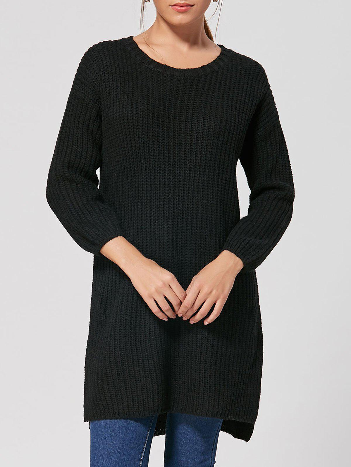 Best Slit High Low Casual Knit Dress