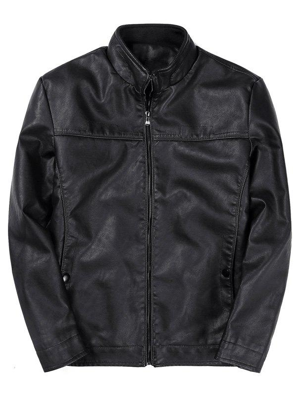 Fashion Zip Up Padded PU Leather Jacket