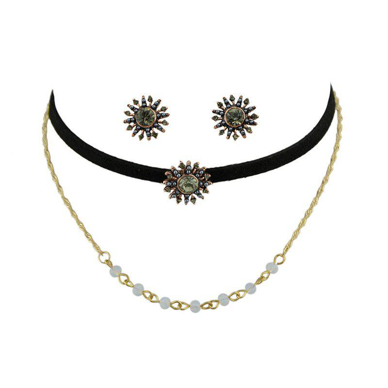 Beaded Sunflower Choker Necklace and EarringsJEWELRY<br><br>Color: GOLDEN; Item Type: Chokers Necklace; Gender: For Women; Metal Type: Alloy; Style: Hipster; Shape/Pattern: Floral; Weight: 0.0600kg; Package Contents: 1 x Necklace  1 x Earrings(Pair);
