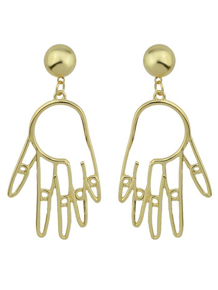 Funny Metal Ball Hand EarringsJEWELRY<br><br>Color: GOLDEN; Earring Type: Drop Earrings; Gender: For Women; Metal Type: Alloy; Style: Trendy; Shape/Pattern: Solid; Length: 6.4CM; Weight: 0.0300kg; Package Contents: 1 x Earring (Pair);
