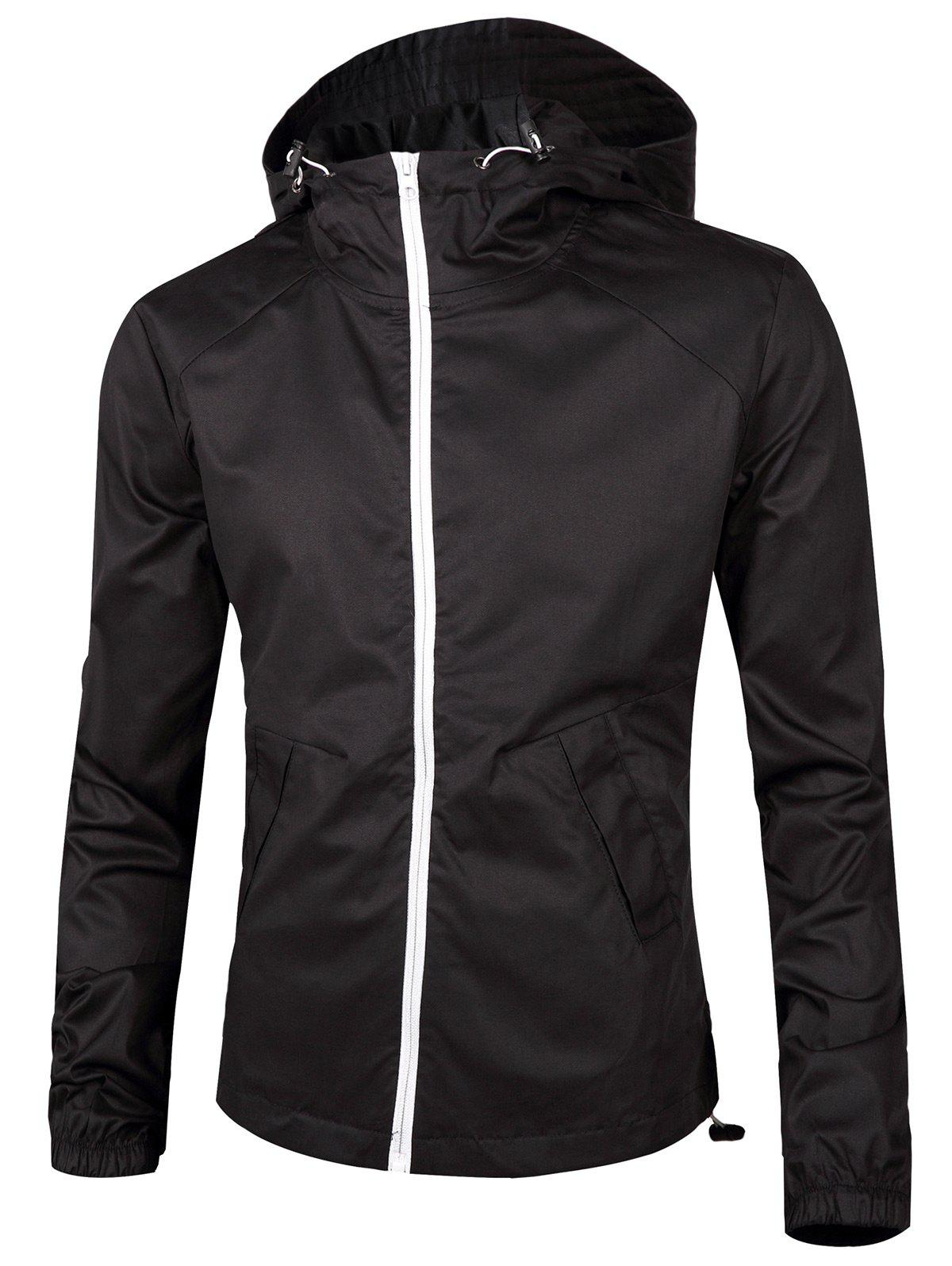 Retour imprimé graphique Zip Up Windbreaker Jacket Noir XL
