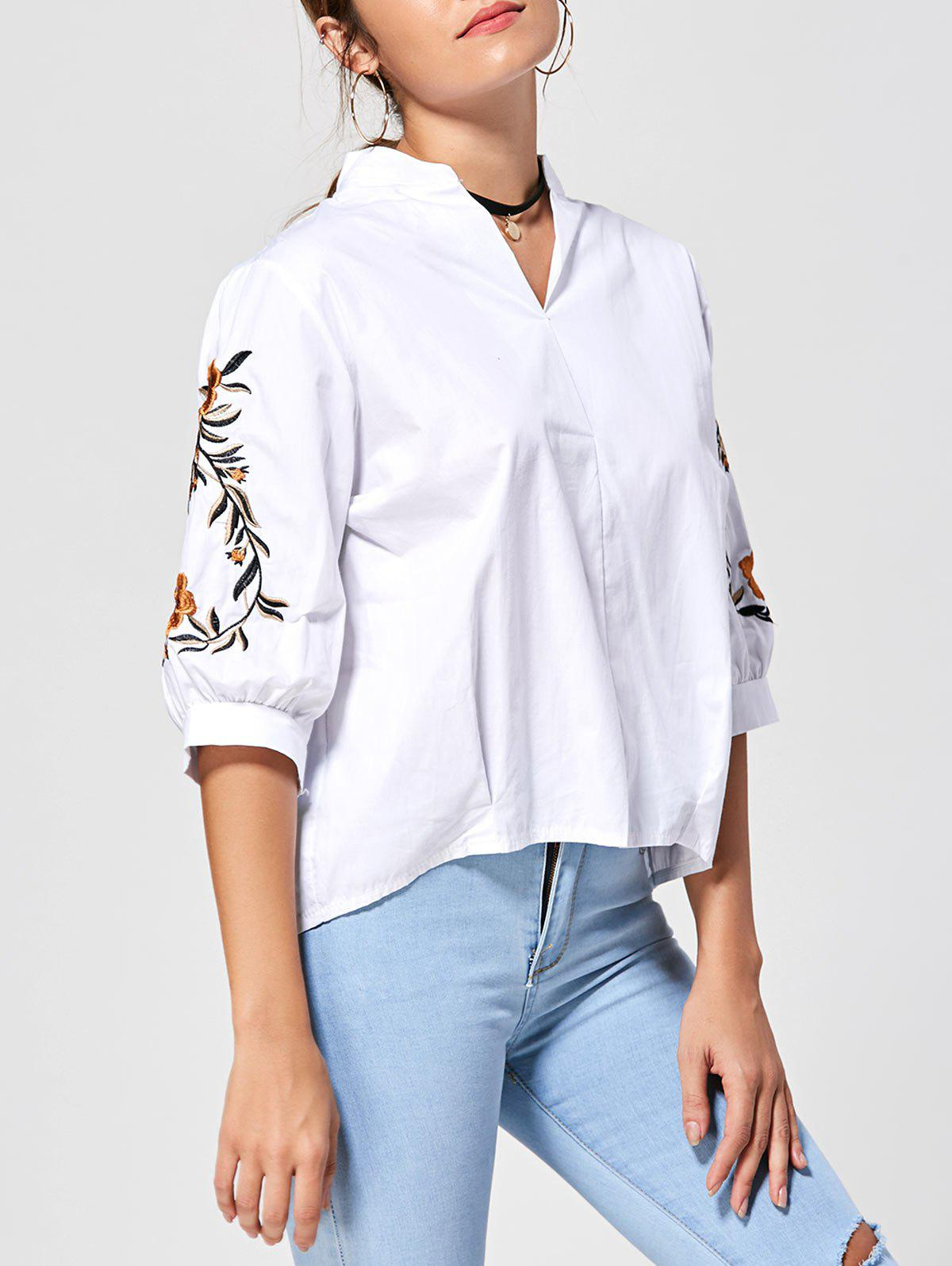 Best Back Button Stand Collar Embroidery Blouse