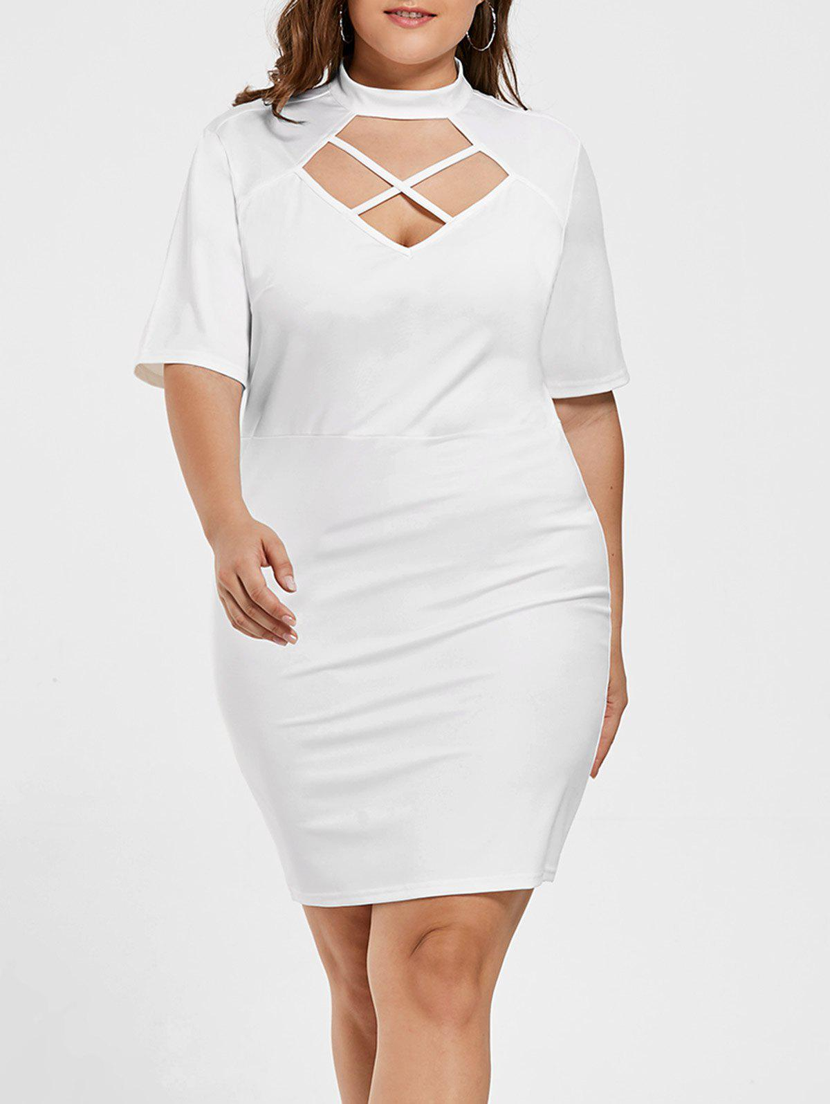 08ee7c84a8c 15% OFF  Criss Cross Bodycon Plus Size Fitted Dress