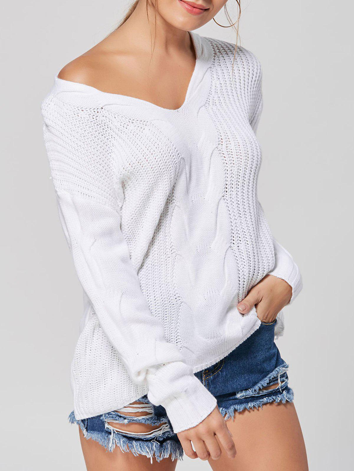 Casual V-neck Knit SweaterWOMEN<br><br>Size: XL; Color: WHITE; Type: Pullovers; Material: Polyester,Spandex; Sleeve Length: Full; Collar: V-Neck; Style: Casual; Pattern Type: Solid; Season: Fall,Winter; Weight: 0.4150kg; Package Contents: 1 x Sweater;