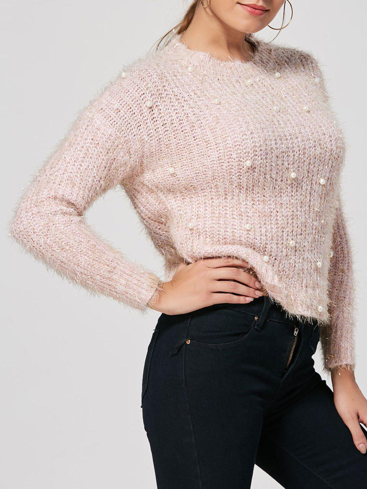 Latest Faux Pearl Embellished Fuzzy Sweater
