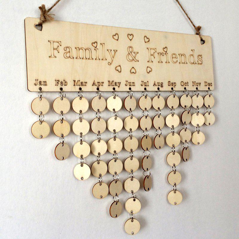 DIY Wooden Family And Friends Birthday Calendar BoardHOME<br><br>Color: ROUND; Candle Type: Wood Crafts; Use: Home Decoration; Material: Wood; Weight: 0.1650kg; Package Contents: 1 x Birthday Board (Set);