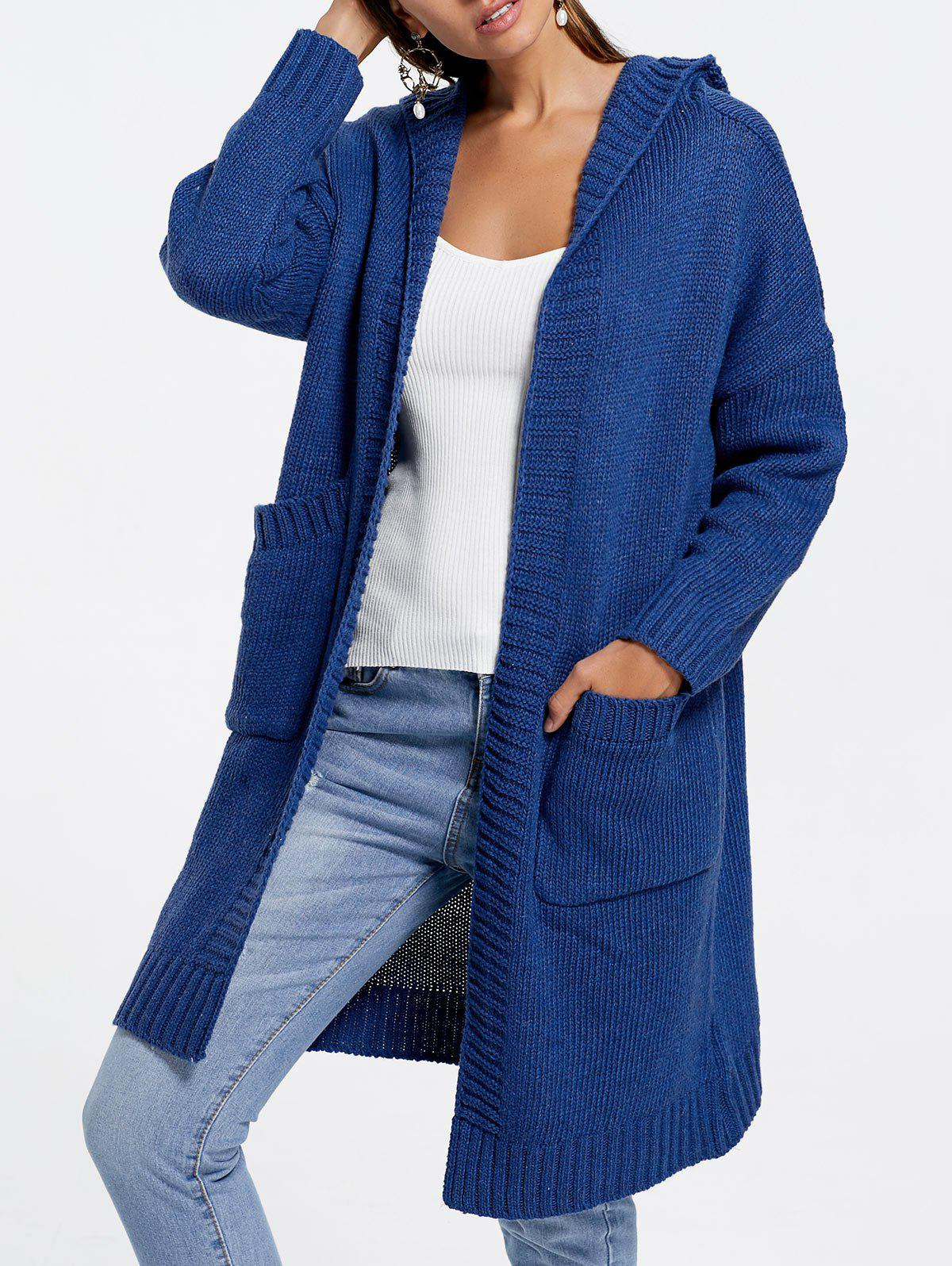 Shops Front Pockets Knit Hooded Cardigan