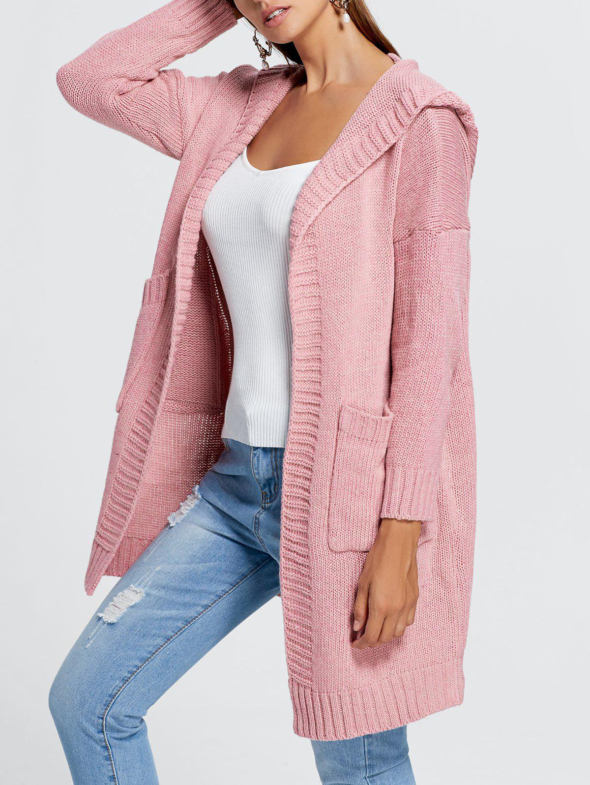 Outfits Front Pockets Knit Hooded Cardigan