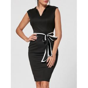 Belt V Neck Pencil Dress - Black - 2xl