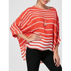 Batwing Sleeve High Low Striped Blouse