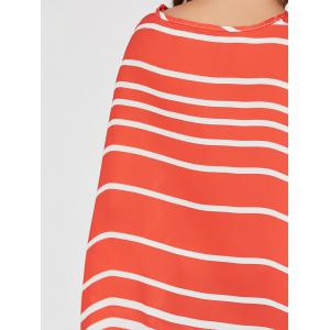 Batwing Sleeve High Low Striped Blouse -