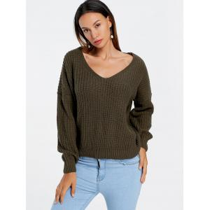 Drop Sleeve Lace Up Chunky Sweater - ARMY GREEN ONE SIZE