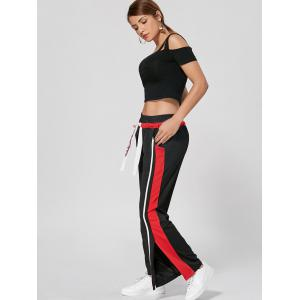 Letter Broderie Slit Active Wide Leg Pants -
