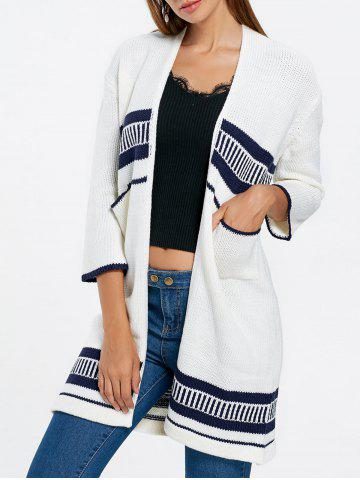 Open Front Pockets Knit Cardigan - White - One Size