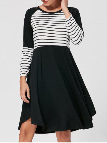Striped Raglan Long Sleeve Dress - Black - Xl