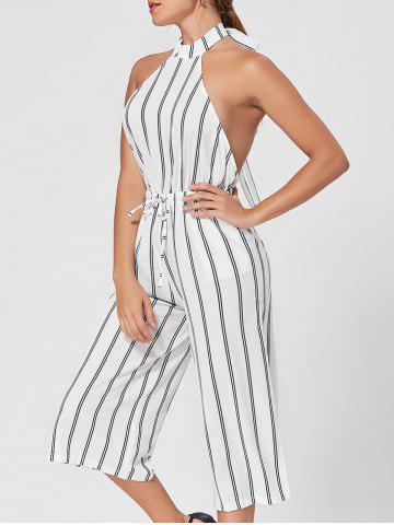 Store Striped Backless Capri Wide Leg Jumpsuit - S WHITE Mobile