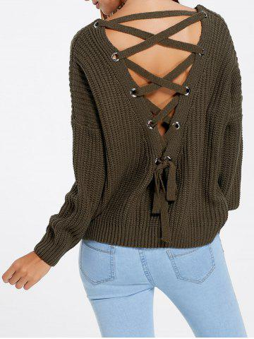 Latest Drop Sleeve Lace Up Chunky Sweater ARMY GREEN ONE SIZE
