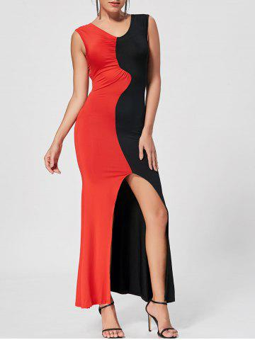 Color Block High Slit Bodycon Maxi Dress - Red - Xl