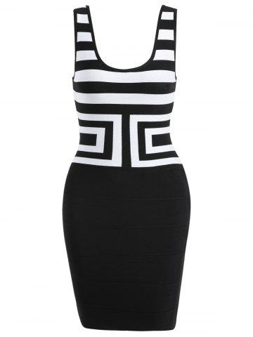 Scoop Neck Sleeveless Bandage Dress - White And Black - L