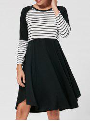 Striped Raglan Long Sleeve Dress