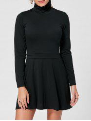 Long Sleeve High Neck Mini A Line Dress